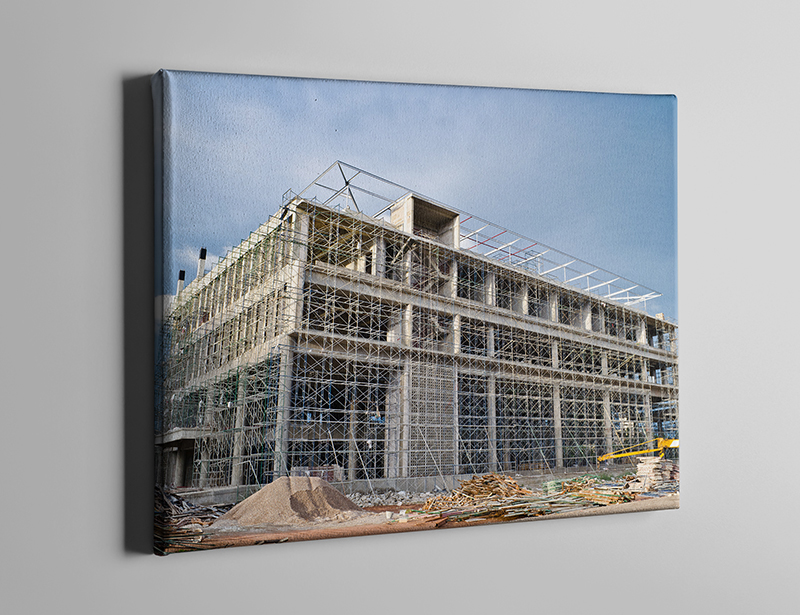 Building in construction printed on canvas