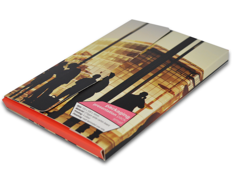Printed presentation pack, low print run from Kall Kwik Ealing. No minimum order.