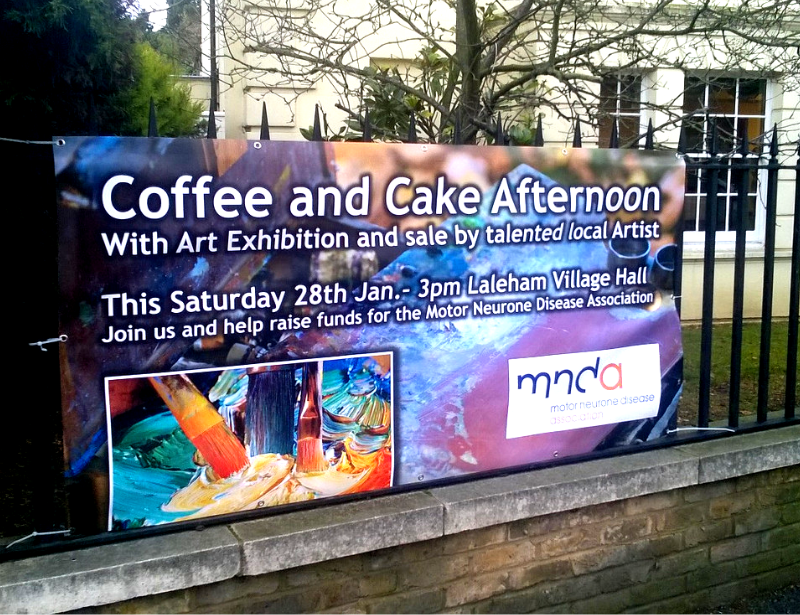 Outdoor vinyl banner with eyelets