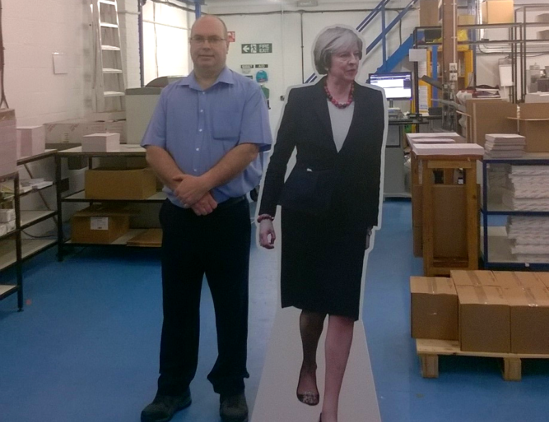 Life size Theresa May Standee Cutout from Kall Kwik Chiswick